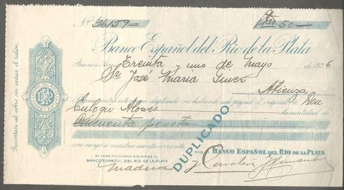 antiguo cheque banco español en pesetas