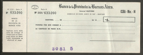 antiguo cheque banco provincia bs as sucursal martinez