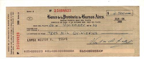 antiguo cheque banco provincia buenos aires pesos ley 1974