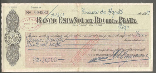 antiguo cheque del banco español de vigo españa