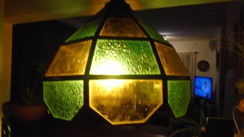 antiguo colgante-tipo vitro -verde y amarillo- hermoso $3600