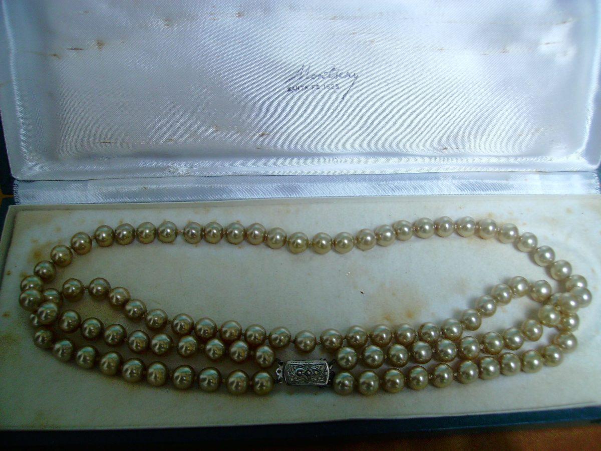 0cabdc3bbed3 antiguo collar de perlas cultivo broche plata 935 c estuche. Cargando zoom.