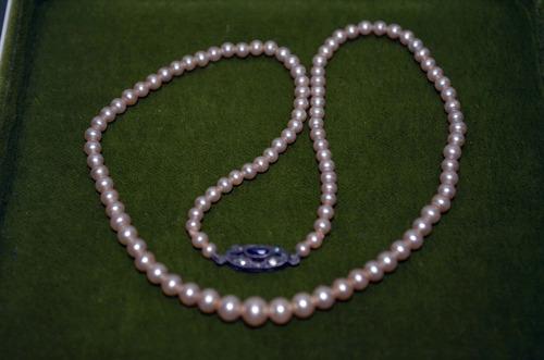 antiguo collar de perlas de mayorca broche en plata  de niña