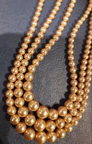 bf869907005c Antiguo Collar Perla Perlas Tres 3 Vueltas Broche De Plata