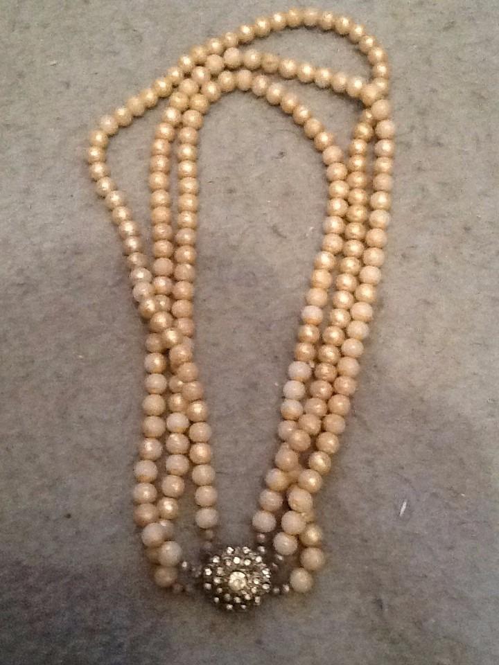 8578df28a80d antiguo collar perlas broche piedras 1930 tres bueltas. Cargando zoom.