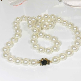 Antiguo Collar Perlas Cultivadas De Laboratorio 12mm
