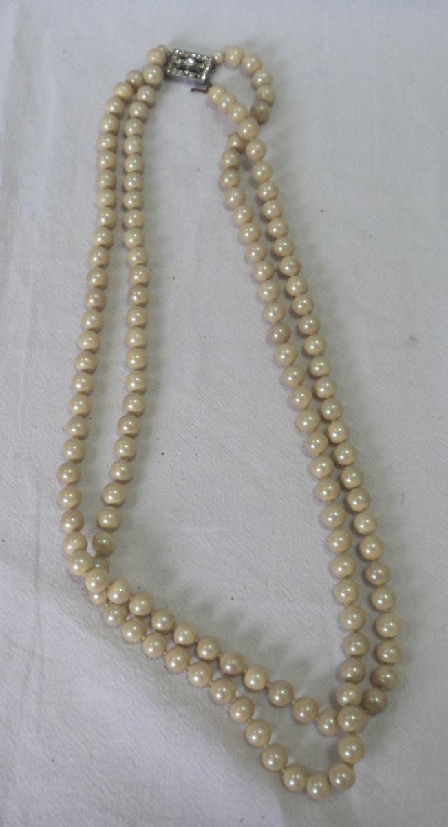 3a2145bb9995 antiguo collar vintage perlas fantasia broche rectangular. Cargando zoom.