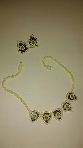 antiguo collar y aros naturales de colección