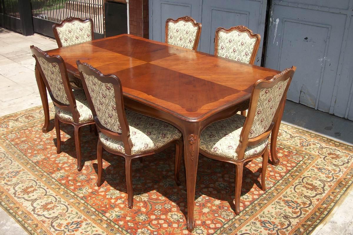 Antiguo comedor estilo luis xv frances mesa y 6 sillas for Estilos de sillas para comedor