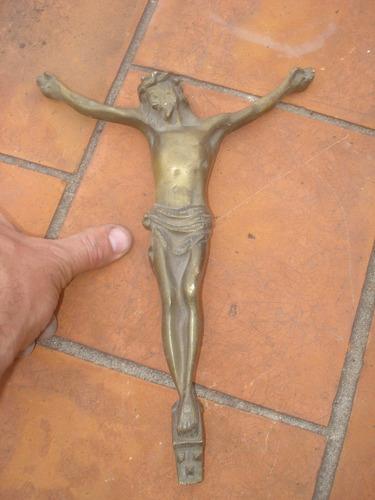 antiguo cristo en la cruz en bronce macizo
