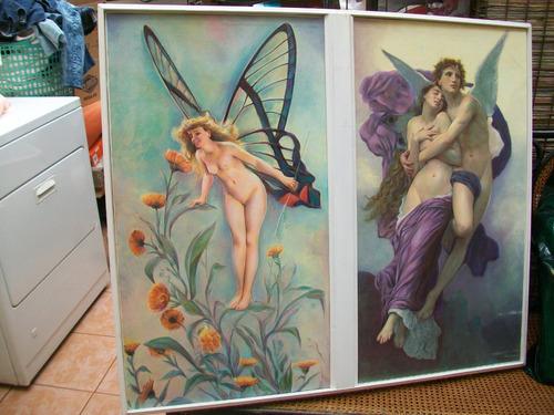antiguo cuadro de ángeles, oleo sobre lienso mide 100 x 85