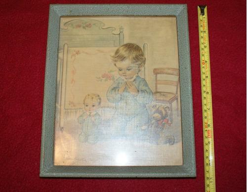 antigúo cuadro infantil.niños resan vintage c/más de 50 años