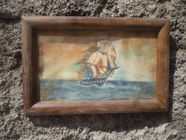 Antiguo cuadro marco madera dibujo a mano en for Marco cuadro antiguo