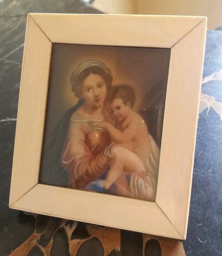 antiguo cuadro miniatura mat noble pintada mano firmad mayer