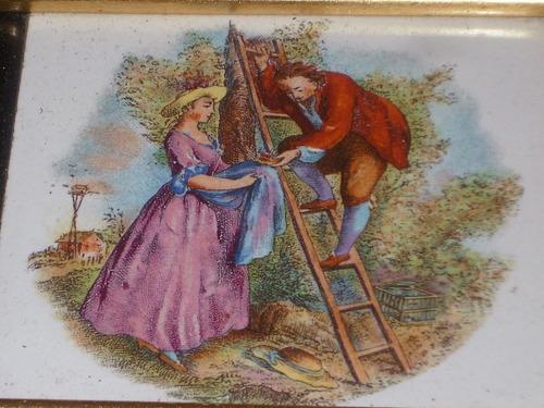 antiguo cuadro miniatura pintado s/ placa de loza escena
