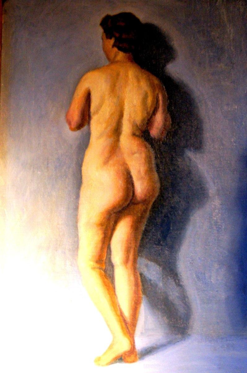 Antiguo Cuadro Oleo Mujer Desnuda 55 X 70 85000