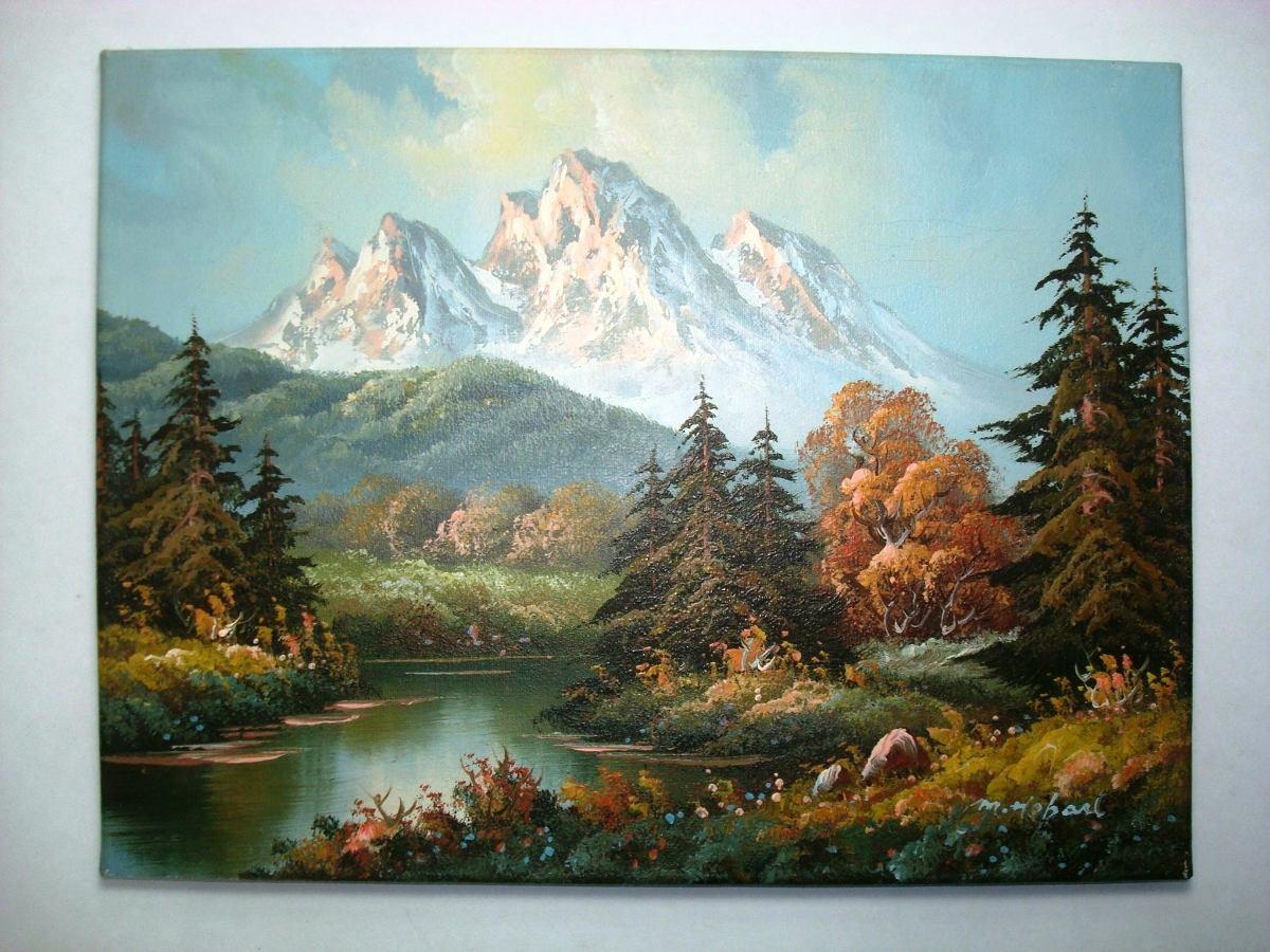 Antiguo cuadro paisaje bosque monta a oleo en relieve - Fotos de relieve ...