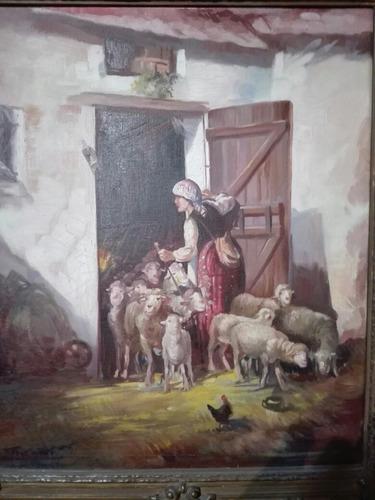 antiguo cuadro pintura firmada con marco