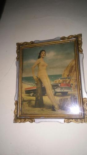 antiguo cuadro vintage artedeco auto clásico