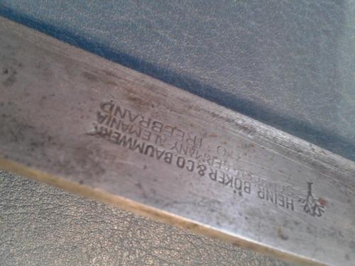 antiguo cuchillo cuchilla arbolito solingen 27 cm hoja 16 cm