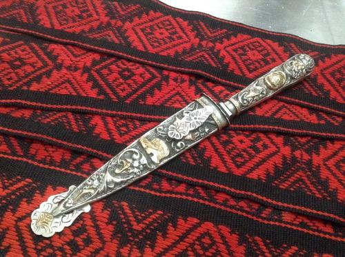 antiguo cuchillo de d plata oro solingen arbolito coleccion.