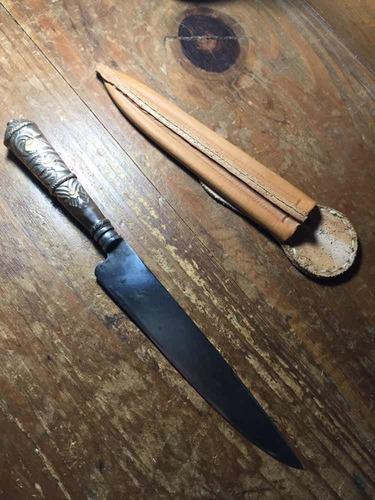 antiguo cuchillo solingen con cabo de época en oro y plata.