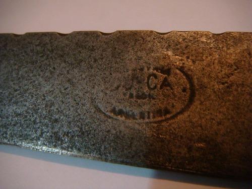 antiguo cuchillo tandil acero y alpaca con vaina cuero