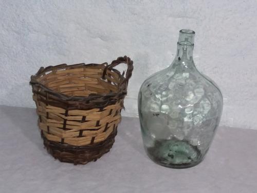 antiguo damajuana vidrio traslucido 5 lts canasto mimbre