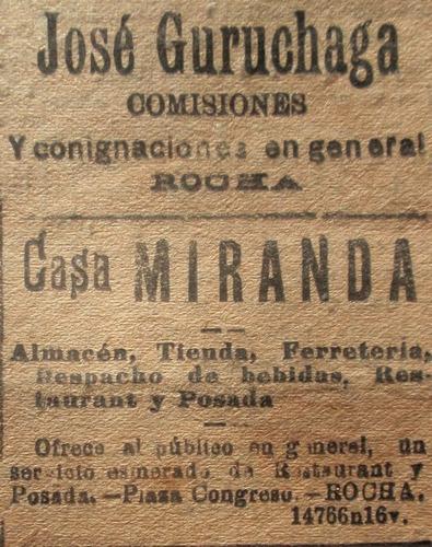 antiguo diario la democracia depto. rocha 1921 comercios