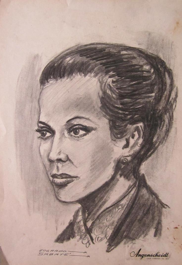 Antiguo Dibujo De Rostro Mujer De Edgardo Sabate   100000 en
