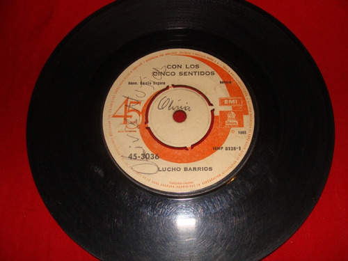 antiguo disco de vinilo single -lucho barrios