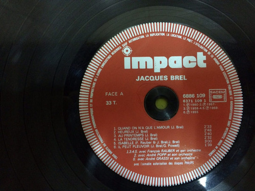 antiguo disco impact jacques brel decoracion retro vinilo