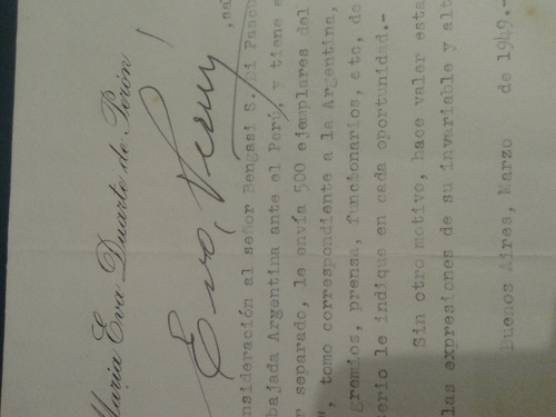 antiguo documento original  eva duarte evita  peron firmada