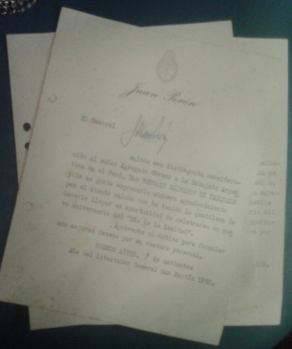 antiguo documento original general juan peron firmada