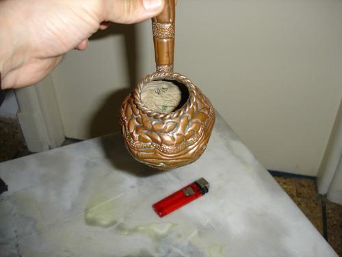 antiguo elemento transf en  pipa de cobre labrado
