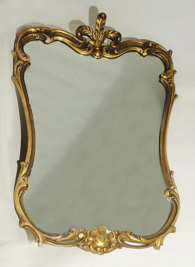 antiguo espejo biselado marco de madera dorado a la hoja s
