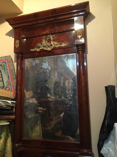 antiguo espejo estilo imperio en raíz de caoba francia 1870