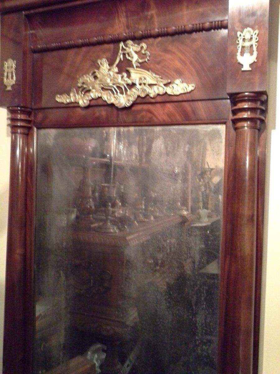 Antiguo espejo estilo imperio francia 1870 raiz caoba - Espejos antiguos grandes ...