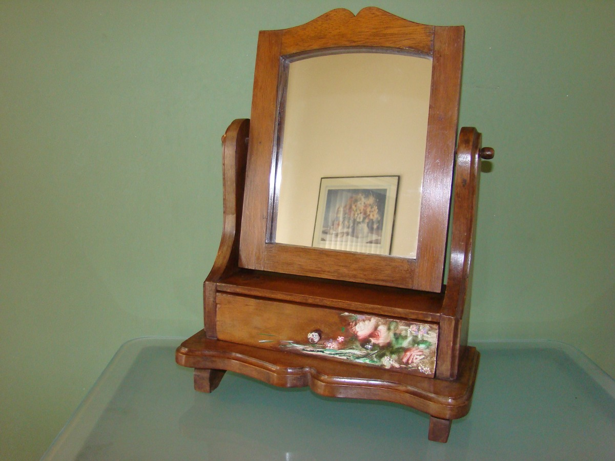 antiguo espejo joyero en madera con gaveta