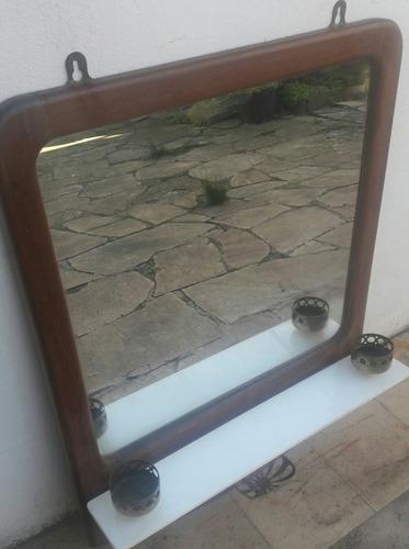 antiguo espejo para baño, cedro, opalina, bronce, impecable.