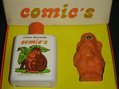 antiguo estuche comics colonia y jabon con forma de mono