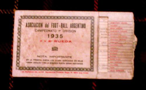 antiguo fixture bolsillo futbol 1935 energina shell