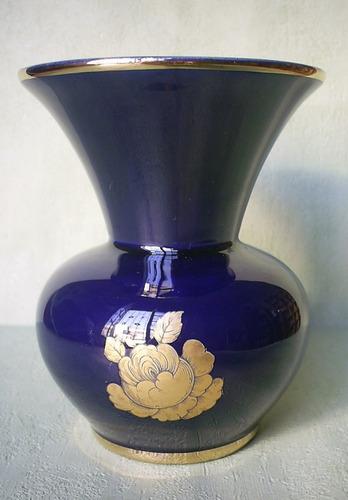 antiguo florerito azul cobalto  machado