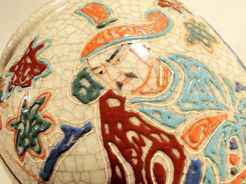 antiguo florero cerámica japonesa craquele sellado