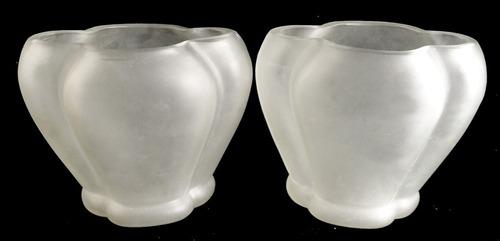 antiguo florero de vidrio artístico diseño artdecó sellado