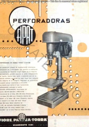 antiguo folleto fipat perforadoras banco auto taller años 60