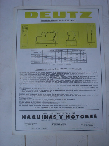 antiguo folleto motor deutz-argentina-equipos electrogenos