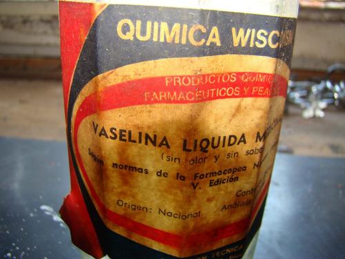 antiguo frasco de vaselina liquida wisconsin