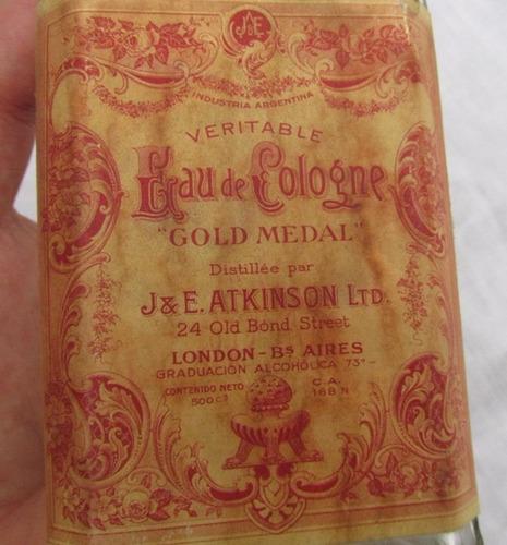 antiguo frasco eau de cologne, colonia atkinson, gold medal
