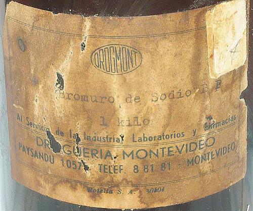 antiguo frasco farmacia etiqueta droguería montevideo 24cm
